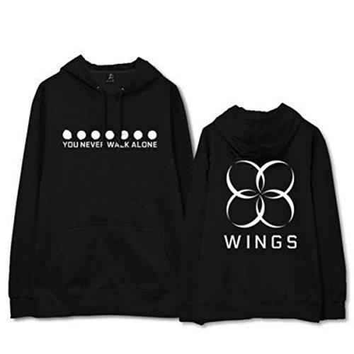 Kpop BTS Wings Album Sie Gehen nie allein Hoodie Unisex Harajuku Langarm-beiläufige lose Sweatshirt BTS Fans unterstützende Sweatshirt Rap Monster JIN SUGA J-Hoffnung Jimin V JUNG KOOK