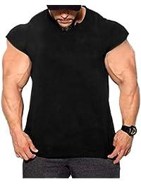 Mxssi Hombres Entrenamiento Gimnasio Tanques Camisas Musculares Drop Shoulder tee Camisetas para Correr Trotar