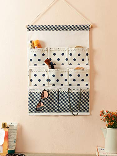 Cortina Nylon Printed Over The Door Closet Organizer, Cosmetic and Makeup Organizer, Wall Hanging Storage Bags with 8 Pockets for Bedroom & Bathroom (Multicolor)