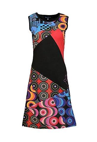 Mesdames robe sans manches été avec Colorful Imprimer Circle et Patch Conception