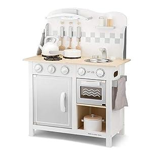 New Classic Toys Kitchenette-Bon Appetit-Deluxe-White/Silver, Multicolore Color (11061)
