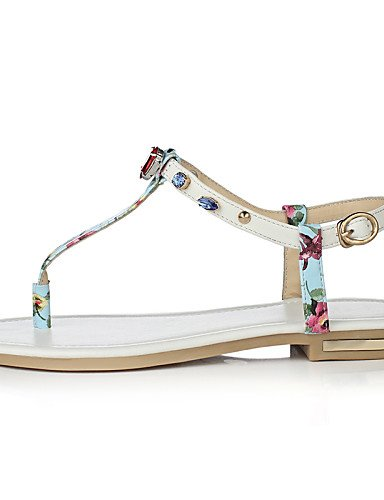 LFNLYX Chaussures Femme-Extérieure / Habillé / Décontracté-Bleu / Blanc-Talon Plat-Tongs / Baby-Sandales-Cuir White