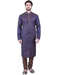 Manyavar Men's Blue Full Sleeve Regular Fit Designer Kurta & Churidar Set