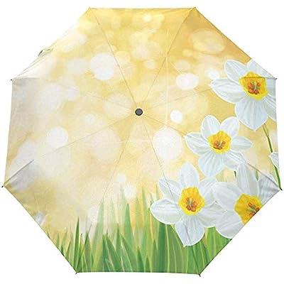 Daffodil Flowers Floral Lake Auto Open Paraguas Sun Rain Umbrella Anti UV Folding Compact Automatic Paraguas