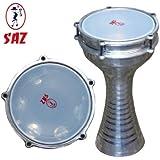 Saz - Darbuka turca, aluminio torneado, con platos