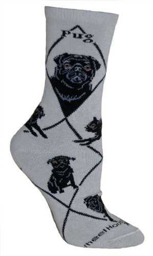 Mops-Socken-Motiv-In-Grau-Schwarz