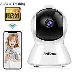 Caméra de Surveillance WiFi Intérieur, Srihome SH025 Caméra IP WiFi 1080P avec Détection de Mouvement, Audio Bidirectionnel pour la Maison