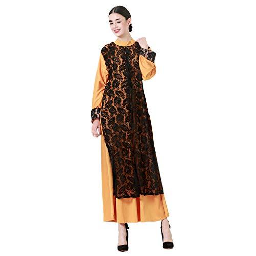 Andouy Frauen Abaya Muslimische Kaftan Kleid Mode Elegante Fake Zwei Stücke Spitze Hohl Nähen Cocktailkleid(XL(38).Orange)