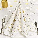 GRUBly Servietten Weihnachten Sterne Gold (Winter Limited Edition) | Die perfekte stoffähnliche Weihnachtsserviette für Dein Weihnachtsfest | aus Premium Airlaid | 40x40cm | 50 Stück