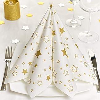 GRUBly servilletas de Papel – Navidad Estrellas Doradas | Material Similar | Decoración de la Mesa Navidad | 40x40cm | AIRLAID Calidad | Paquete de 50
