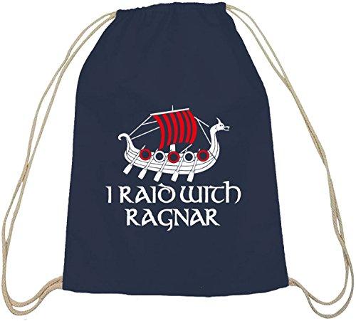 Shirtstreet24, I RAID WITH RAGNAR, Vikings Baumwoll natur Turnbeutel Rucksack Sport Beutel dunkelblau natur