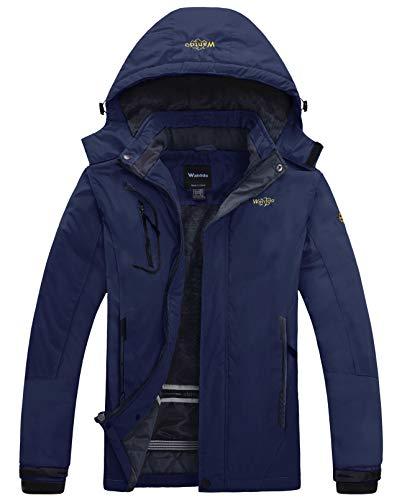 Wantdo Homme Anorak Veste de Ski Coupe-Vent Étanche Blouson Imperméable en Polaire Coupe-Pluie pour Hiver Bleu Marine XX-Large