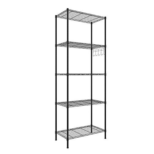 BATHWA Regal Küchenregal Steckregal Standregal Metall mit 5 Regalböden für Garage, Küchen L54 x W29 x H158cm, Schwarz