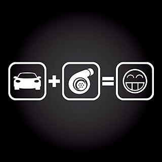 Auto + Turbo = Fun Smiley Aufkleber 20,0 cm x 5,2 cm JDM OEM Tuning Sticker Decal 30 Farben zur Auswahl