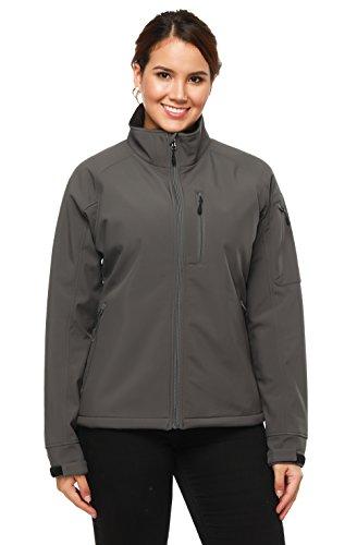 MIERSPORTS Mier (Damen Softshell Outdoor Front-Reißverschluss Jacken, Wasser Resistent, 6Taschen, Damen, Graphit, XL (Bust:42