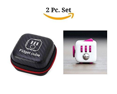 Fidget cubo con custodia Set giocattolo da scrivania Clicker Joystick Pulsanti per Stress Ansia Focus ADHD Autismo per adulti e bambini studenti ufficio Confezione Regalo, 5#Rose Red