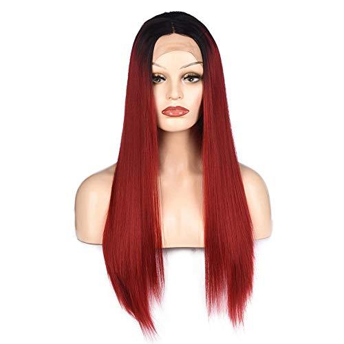 Maramma Perücke lange glatte Haare die vordere Spitze High-End-Perücke gelb lange glatte Haare halbe handgewebtePerücke Frauen Cosplay Party Halloween Kostüm Weiche Synthetische Spit