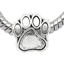 1x Antique Silver Paw Charm Bead will fit on Pandora/Troll/Chamilia European Type Bracelets 11mm by Charm