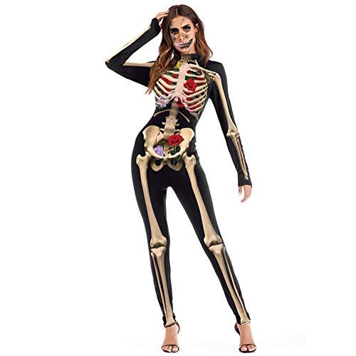 Paskyee Damen Halloween-Kostüm Bodysuit 11D-Druck Bodycon Cosplay Overall