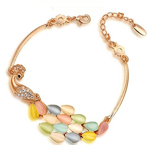 Epink, Damen Armb?nders Vergoldet Rose Gold Kristall Farbe Pfau CZ Rhinestein Intarsien 22*2Cm