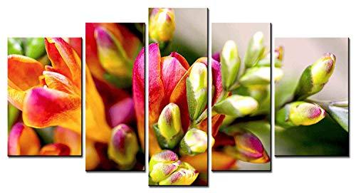 Fleur De Lis Serie (Blumen-Serie Home Decor Artwork Fleur-de-lis Gemeinsame Freesie bedeutet Reine Wandkunst 5 Stück Gemälde Druck auf Leinwand für Wohnzimmer gerahmt)