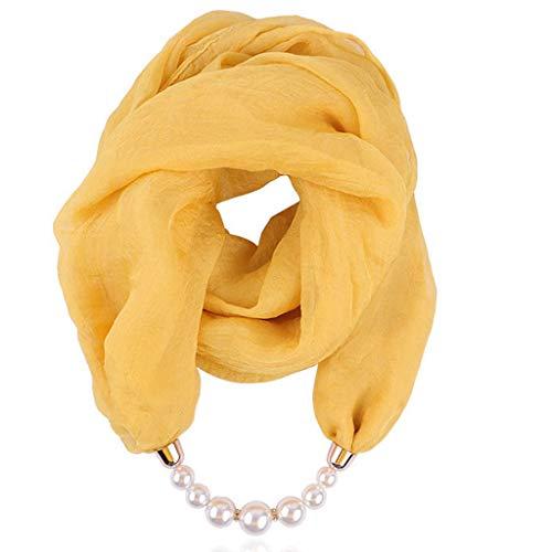 Auied Schal Chiffon Halskette Lätzchen Perle Halskette Anhänger Schal Sonnencreme Halskette Schal -