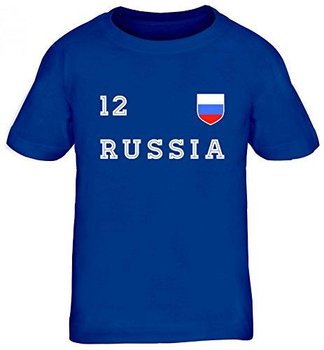 Russia Poccnr Fußball WM Fanfest Gruppen Kinder T-Shirt Rundhals Mädchen Jungen Trikot Russland, Größe: 134/146,Royal Blau