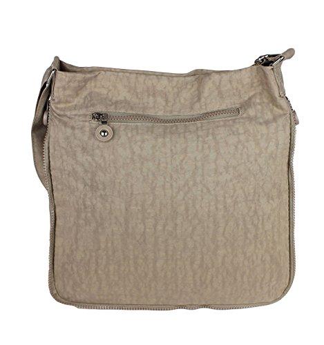 2221 Bag Street Damen sportliche Handtasche Umhängetasche Schultertasche aus Nylon Beige