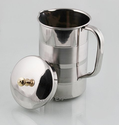 Mayur Exports Stainless Steel Water Jug - Brass Knob Lid - 1.6 L