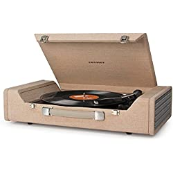 Crosley Nomad Three Speed USB Enabled Vinyl Turntable with Built In Stereo Speakers - Brown, [Importado de Reino Unido]