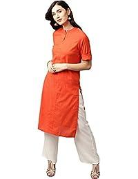 Jaipur Kurti Women's Cotton Kurta With Off-White Palazzo Set (Orange)