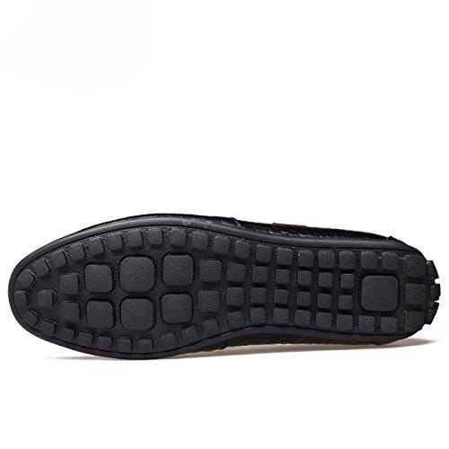 Uomini Scarpe Da Piselli Cuoio Scarpe Scarpe Casual Scarpe Sportive Scarpe Pigre Black
