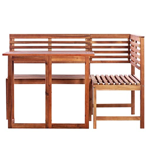 Festnight Balcony Table Corner Bench Dining Table Wooden Furniture Set 2 Pieces Solid Acacia Wood