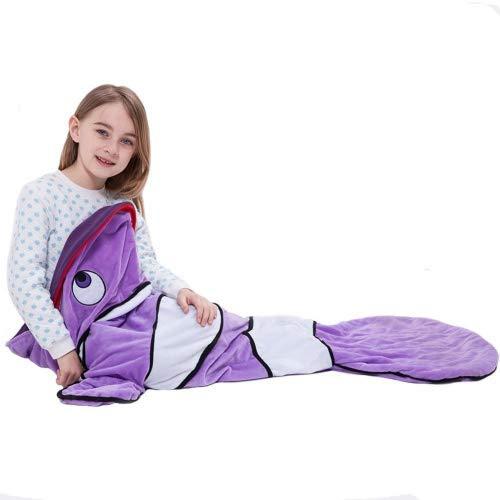 Geekbuzz Clown Fische Schwanz Decke Weich Fleece Kinder Schlafsack für Kinder 3-10 Jahre alt Purple Clown ()