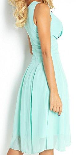 Zeta Ville - Damen Skaterkleid mit Empire-Taille Chiffon Kleid Ärmeloses - 253z Minze