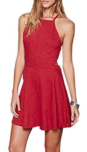 Smile YKK Femme A Line Robe Dos Nu sans Manches à La Mode Slim Rouge