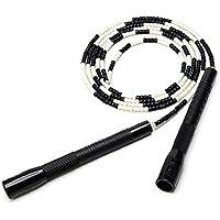 Schnuger Cuerda Que Salta De Bambú Conjunto Saltar La Cuerda Ajustable Fitness Deportivo Herramientas Velocidad Cuerda De Salto para Hombres, Mujeres Y Niños Negro Y Color Blanco