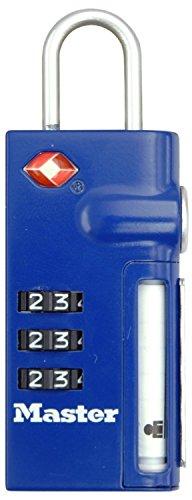Master Lock 4693EURDBLU Lucchetto TSA 20 mm con Porta-indirizzo retraibile Finitura Laccata Blu