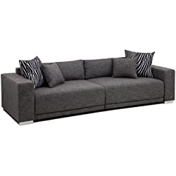 B-famous Big Sofa London-XXL Struktur grau, 287x103 cm,