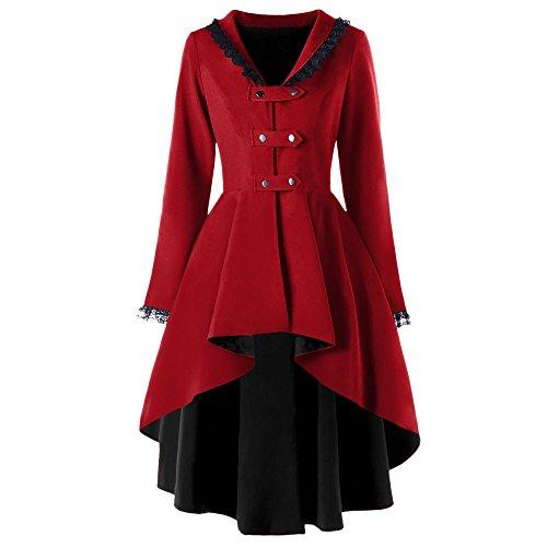 (Rosegal Damen Schwarz Frackjacke Gothic Steampunk Victorian VTG Kostüm Langer Mantel (L, WEINROT))