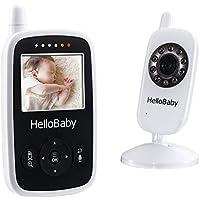 """HelloBaby HB24 Bébé Moniteur Baby Monitor 2.4"""" Écran LCD Couleur 2.4 GHz Vidéo Numérique Babyphone sans Fil Sécurité pour Baby + Surveillance de la Température de Vision Nocturne et Système de Communi"""