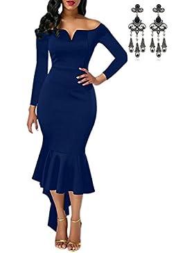 CARINACOCO Donna Vestiti Midi Senza Maniche V-Collo Eleganti Vestito Con Fishtail Bodycon Slim Fit Per Cocktail...