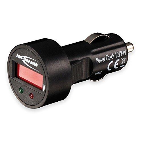 ANSMANN Power Check 12/24V Spannungsmesser/Prüfgerät und LED Voltmeter für Zigarettenanzünder/Ideal geeignet für 12V & 24V Autobatterien/Mit LED Display
