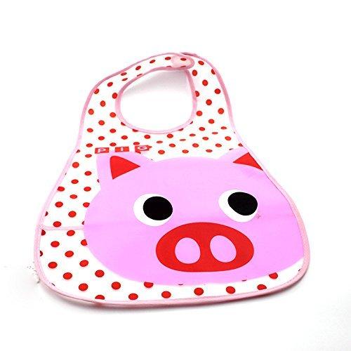 Pig Pflege (flyyfree Cartoon Stil EVA Kunststoff Infant Lätzchen Wasserdicht Baby Schürze 0–6Years Feeding Pflege (zufällige Farbe) (Pig))