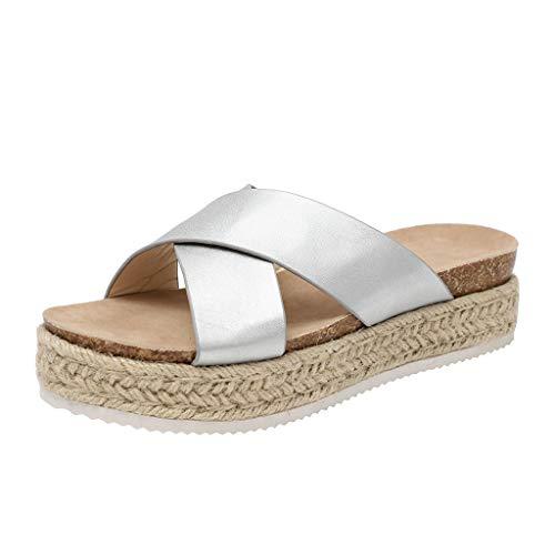 SHE.White Damen Leopard/Einfarbig Plattform Hausschuhe Sommer Flache Unterseite Sandalen Pantoletten Schlappen Glitzer Komfort Sandalen