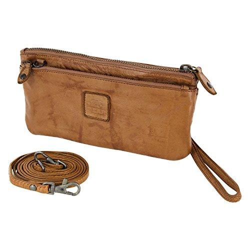 Bear Design Borsa a tracolla, portafoglio (20/ 12/ 2 cm) con cinturino da polso, CL13997 intrecciato, in pelle lavata Beige