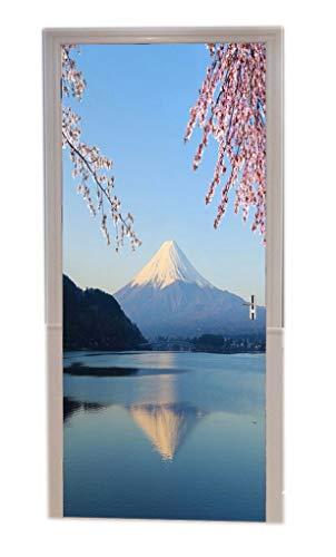 A.Monamour Pegatinas De Pared Monte Fuji con Flor De Cerezo Vista Desde Japón Lago Kawaguchiko Naturaleza Paisaje Vinilo En La Puerta Calcomanías Papel Tapiz Murales En La Pared Calcomanías En Puerta