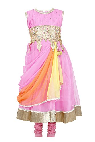 JBN Creation Girls' Pink Kurti & Leggings Set With Embroidered Waist Line...