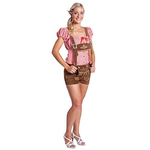 """Frohsinn Damen Trachten Lederhose Kurz """"Bayern"""" (Farbe: hellbraun,Grösse 40: Bundweite: 85-89 cm) - Original FROHSINN -Oktoberfest"""