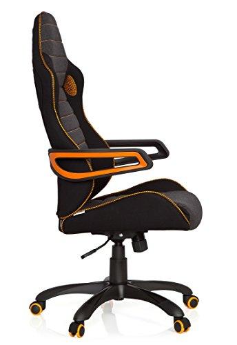 41kHmkOcMAL - hjh OFFICE 621850 RACER PRO IV - Silla gaming y oficina, tejido negro/gris/naranja